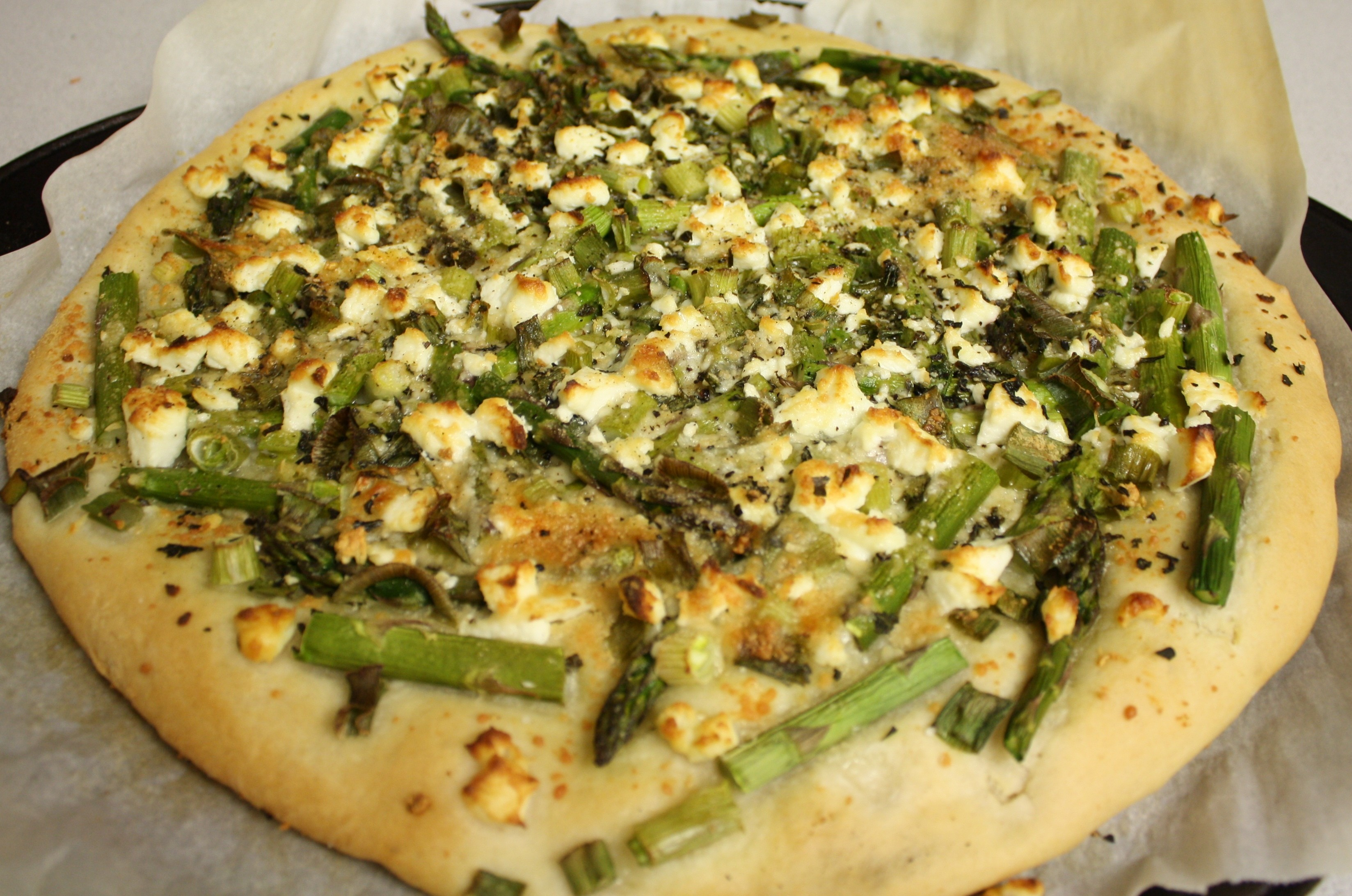 Asparagus, Scallion and Goat Cheese Pizza