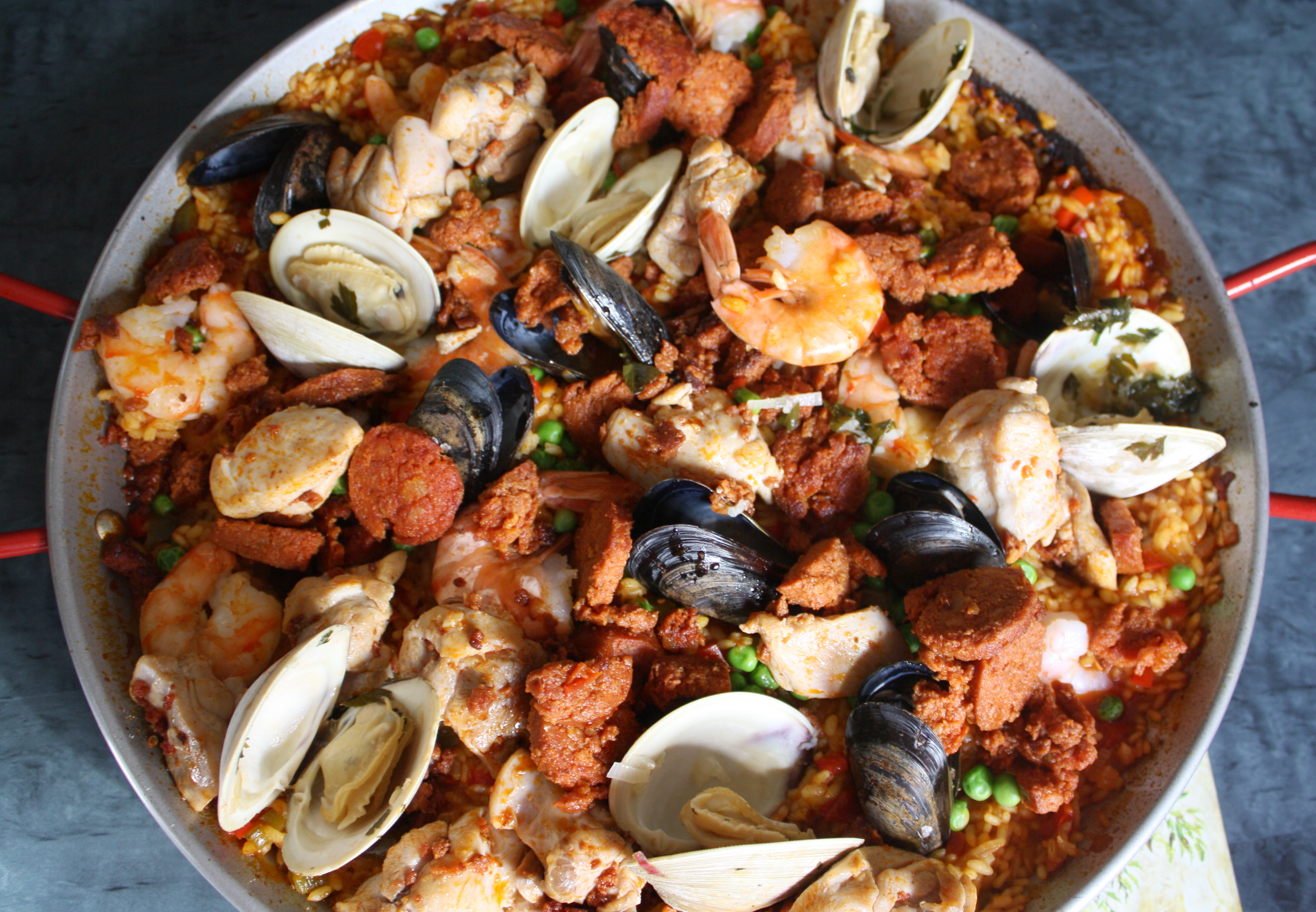Paella with Chicken, Chorizo, Shrimp, Mussels and Clams