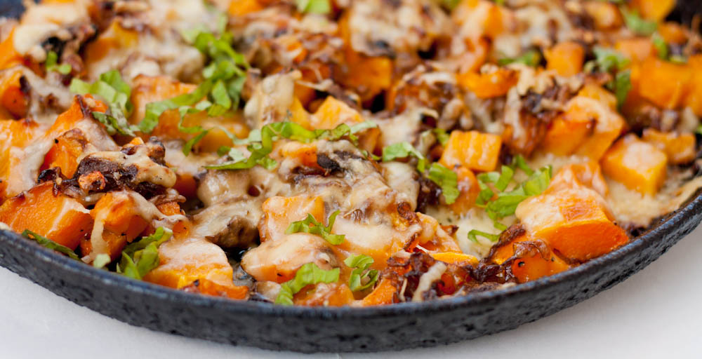 Butternut Squash Gratin with Mushrooms, Caramelized Onions and Gruyere